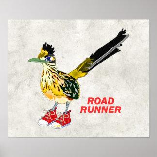 Road Runner in Red Sneakers Poster
