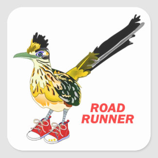 Road Runner in Red Sneakers Square Stickers