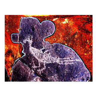 Road Runner Petroglyph and a New Mexican Postcard