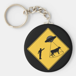Road Sign- Cow and UFO Key Ring