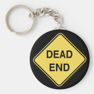 Road Sign - Dead End Basic Round Button Key Ring