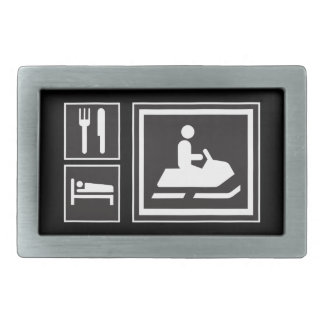 Road Sign Icons - EAT SLEEP Snowmobile MotorSports Rectangular Belt Buckle
