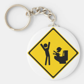 Road Sign Poop Goblin 1 Basic Round Button Key Ring