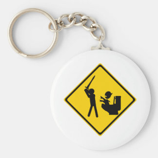 Road Sign Poop Goblin 2 Basic Round Button Key Ring