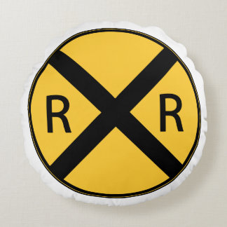 Road Sign Railroad Road Crossing Round Cushion