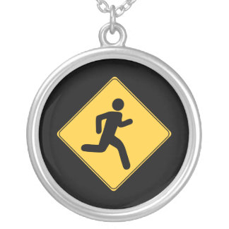 Road Sign - Runner Silver Plated Necklace