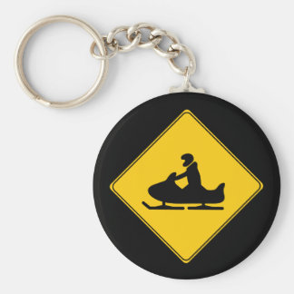 Road Sign- Snowmobile Key Ring