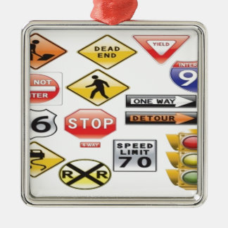 Road signs and traffic light design Silver-Colored square decoration