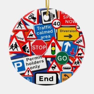 Road Signs Round Ceramic Decoration