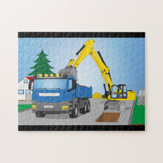 Road site with blue truck and yellow excavator jigsaw puzzle