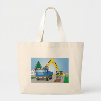 Road site with blue truck and yellow excavator large tote bag