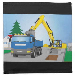 Road site with blue truck and yellow excavator napkin
