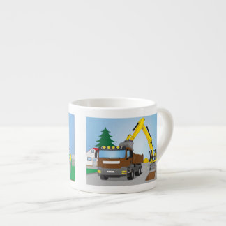 Road site with brown truck and yellow excavator espresso cup