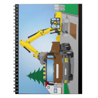 Road site with brown truck and yellow excavator notebook