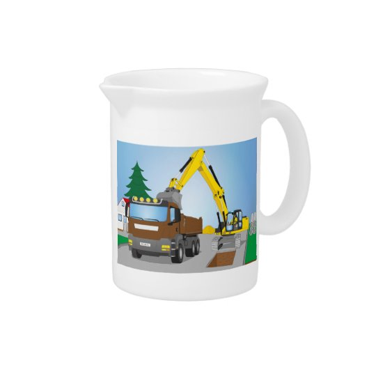 Road site with brown truck and yellow excavator pitcher