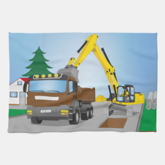 Road site with brown truck and yellow excavator tea towel