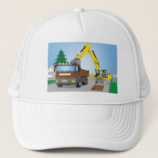 Road site with brown truck and yellow excavator trucker hat