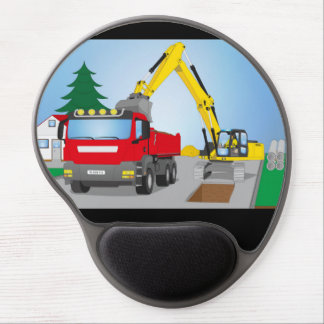 Road site with red truck and yellow excavator gel mouse pad
