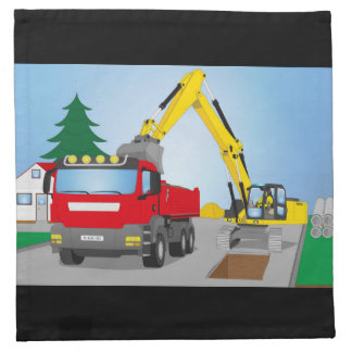 Road site with red truck and yellow excavator napkin