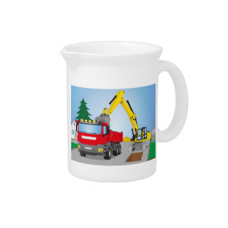 Road site with red truck and yellow excavator pitcher