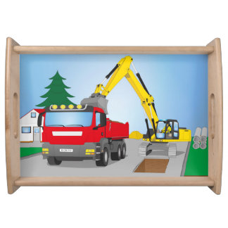 Road site with red truck and yellow excavator serving tray
