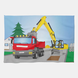 Road site with red truck and yellow excavator tea towel