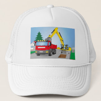 Road site with red truck and yellow excavator trucker hat