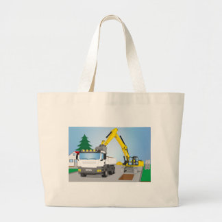 Road site with white truck and yellow excavator large tote bag