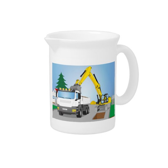 Road site with white truck and yellow excavator pitcher