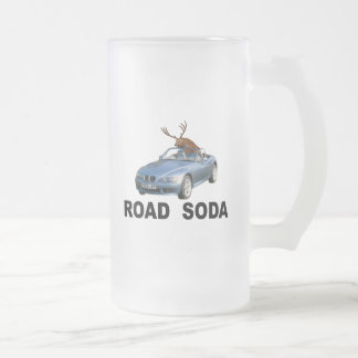 Road Soda Frosted Glass Beer Mug
