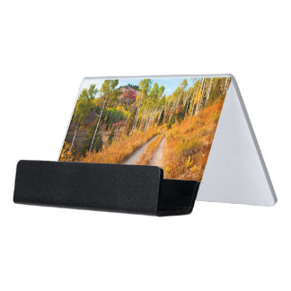 Road Through Autumn Colors Desk Business Card Holder
