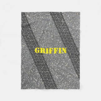 Road Tire Tracks Personalized Fleece Blanket