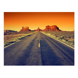 Road To Monument Valley At Sunset Postcard