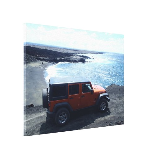 Road to the Sea Hawaii jeep offroad beach canvas Gallery Wrap Canvas