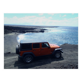 Road to the Sea jeep adventure beach view poster