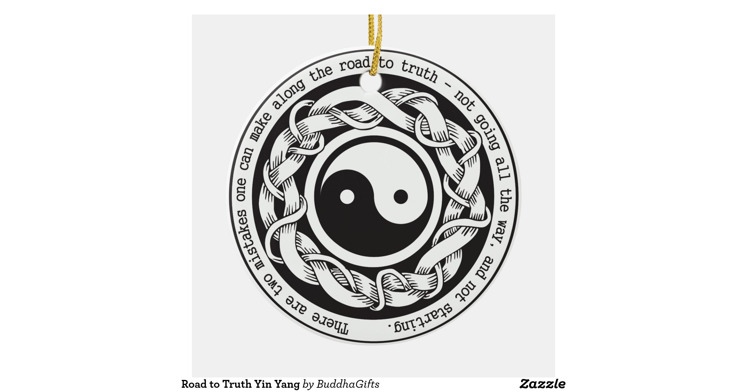 Road to truth yin yang double sided ceramic round for Decoration murale yin yang