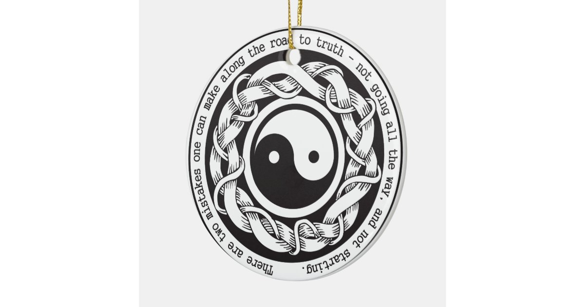 Road to truth yin yang round ceramic decoration zazzle for Decoration murale yin yang