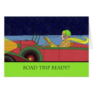 Road Trip Ready? Lady in Vintage Car Card