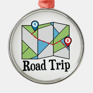 Road Trip Silver-Colored Round Decoration