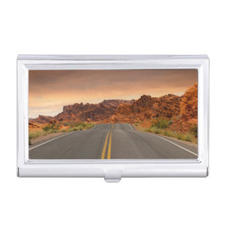 Road trip sunset business card holder