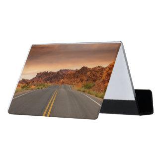 Road trip sunset desk business card holder