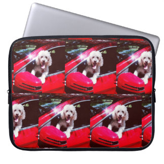 Road Tripping with Pucci the Poodle laptop sleeve
