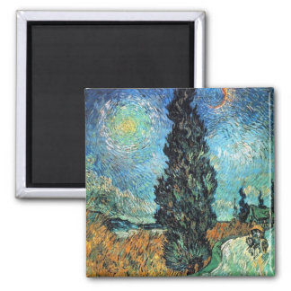 Road with Cypress and Star Square Magnet