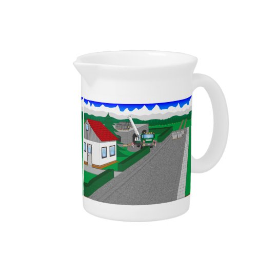 Roads and building of houses beverage pitcher