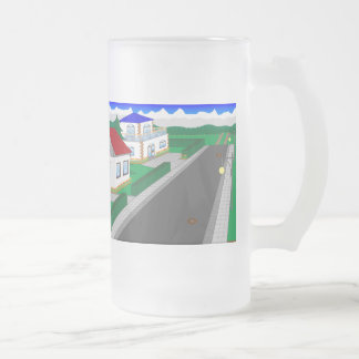 Roads and building of houses frosted glass beer mug