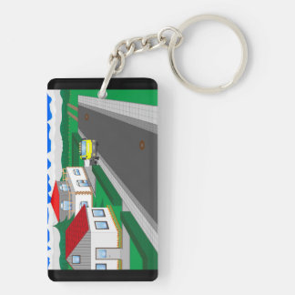 Roads and building of houses key ring