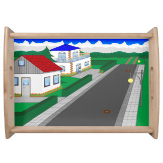 Roads and building of houses serving tray