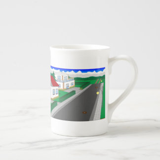 Roads and building of houses tea cup