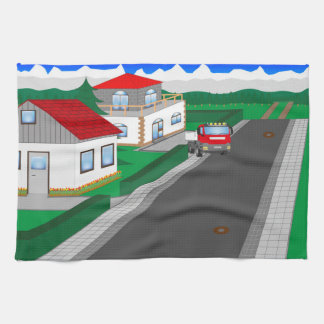 Roads and building of houses tea towel