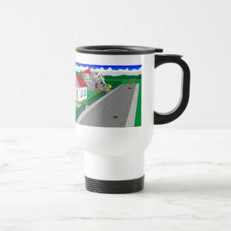 Roads and building of houses travel mug